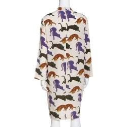 Stella McCartney Cream Wild Cat Print Silk Short Dress M
