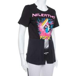 Stella McCartney Black Printed Cotton Paneled Laurel T Shirt XS