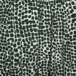 بنطلون ستيلا مكارتني خصر مطاطي حرير مطبوع أبيض و أخضر مقاس صغير (سمول)