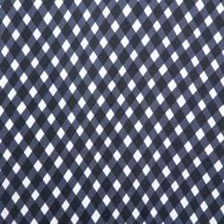 توب ستيلا مكارتني حرير نمط كاروهات أزرق كحلي واسع مقاس صغير - سمول
