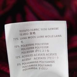 Stella McCartney Burgundy Floral Jacquard Wool Hi-Low Hem Top S