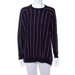 Stella McCartney Navy Blue Striped Wool Hi-Low Hem Jumper S