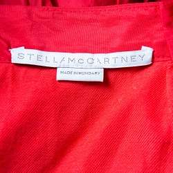 Stella McCartney Red Synthetic Ruched Waist Detail Maxi Skirt M