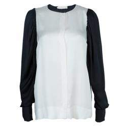 Stella McCartney Monochrome Gathered Sleeve Silk Blouse M