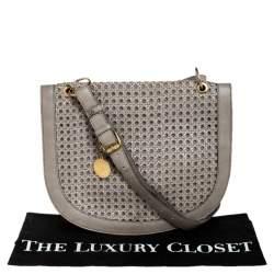 Stella McCartney Grey Woven Leather Alexa Flap Shoulder Bag
