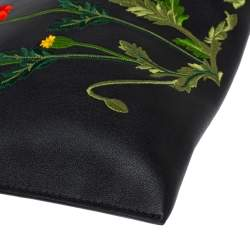 Stella McCartney Black Floral Embroidered Faux Leather Botanical Zip Clutch