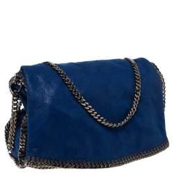 Stella McCartney Blue Faux Leather Large Falabella Flap Shoulder Bag