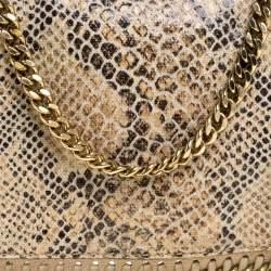 Stella McCartney Beige Snakeskin Effect Falabella Crossbody Bag