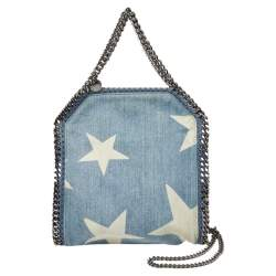 Stella McCartney Light Blue Denim Star Print Baby Falabella Bag