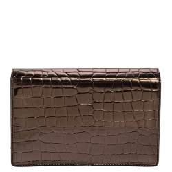حقيبة كروس ستيلا مكارتني جلد صناعي نقشة التمساح رصاصي ميتاليك