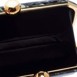 حقيبة كلتش ستيلا مكارتني لوشيا زجاج بليكسي بطباعة رخامية أسود و أبيض