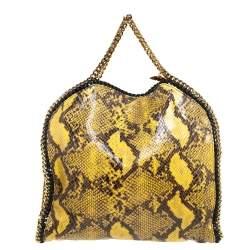 حقيبة سيتلا مكارتني فالابيلا جلد ثعبان صناعي أصفر/أسود صغيرة