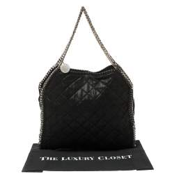 Stella McCartney Black Shimmery Faux Leather Small Falabella Tote