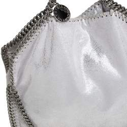 Stella McCartney Silver Shimmery Faux Leather Small Falabella Tote