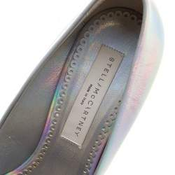 Stella McCartney Metallic Silver Holographic Faux Leather Pointed Toe Pumps Size 39