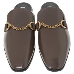 Stella McCartney Brown Faux Patent Leather Chain Detail Flat Mules Size 38