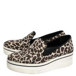 Stella McCartney Multicolor Leopard Print Canvas Platform Slip On Sneakers Size 40