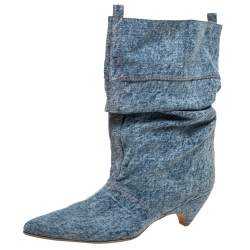Stella McCartney Blue Crease Denim Mid Length Boots Size 39