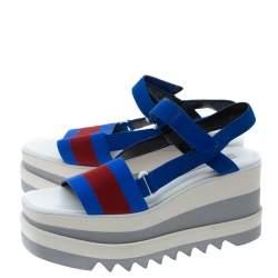 Stella McCartney Blue/Red Fabric Striped Platform Sandals Size 41