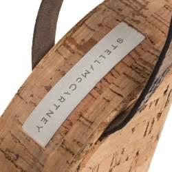 Stella McCartney Brown/Black Python Effect Faux Leather And Cork Platform Ankle Strap Sandals Size 38