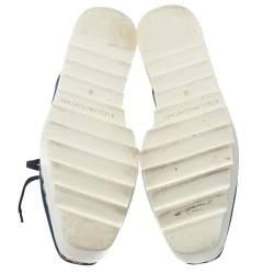 Stella McCartney Blue Denim Fabric Cork Platform Sneakers Size 38