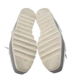 Stella McCartney Metallic Silver Faux Leather Sneak Elyse Platform Derby Sneakers Size 37.5