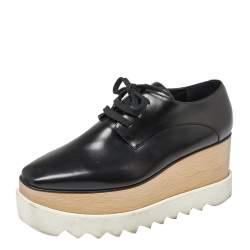 Stella McCartney Black Faux Leather Elyse Platform Derby Sneakers Size 37