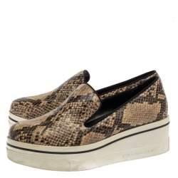 Stella McCartney Multicolor Python Embossed Leather Platform Slip On Sneakers Size 38
