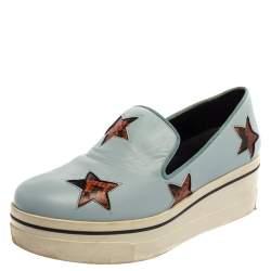 Stella McCartney Blue Faux Leather Binx Star Platform Slip On Sneakers Size 39