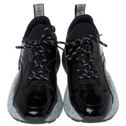 Stella McCartney Black Faux Patent Leather And Fabric Scuba Sneakers Size 41