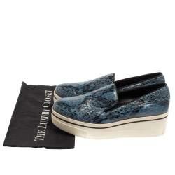 Stella McCartney Blue Python Embossed Leather Binx Platform Sneakers Size 39