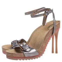 Stella McCartney Metallic Grey Faux Leather Ankle Strap Sandals Size 38