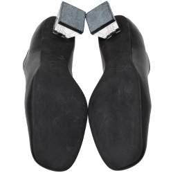Stella McCartney Black Faux Leather Block Heel Pumps Size 39