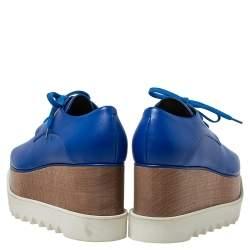حذاء ديربي ستيلا مكارتني جلد أزرق صناعي نعل سميك مقاس 38