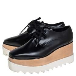 Stella McCartney Black Faux Leather Elyse Platform Derby Size 35.5