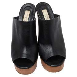 Stella McCartney Black Faux Leather Wooden Block Heel Platform Sandals Size 38.5