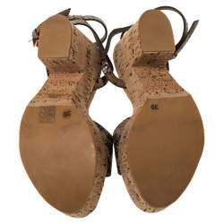 Stella McCartney Beige Faux Python Leather Cork Platform Sandals Size 39