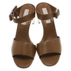 Stella McCartney Brown Faux Leather Buckle Mules Size 40.5