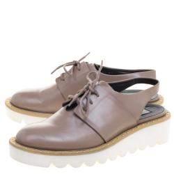 Stella McCartney Beige Faux Leather Slingback Oxfords Size 37