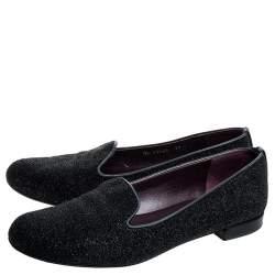 Stuart Weitzman Black Glitter Leather Smoking Slippers Size 37.5