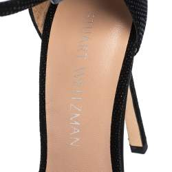 Stuart Weitzman Black Textured Suede Ankle Strap Open Toe Sandals Size 38