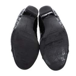 Stuart Weitzman Black Quilted Patent Leather Bow Ballet Flats Size 39.5