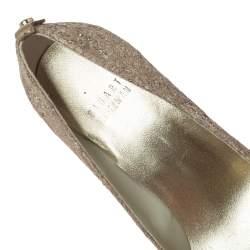 Stuart Weitzman Metallic Beige Lace And Glitter Peep Toe Platform Pumps Size 36.5