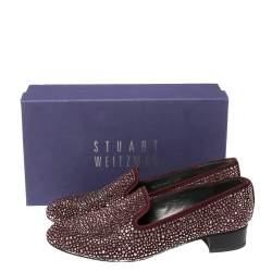 Stuart Weitzman Maroon Suede Crystal Embellished Studded Smoking Slippers Size 39.5
