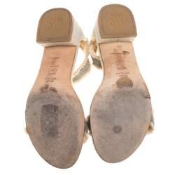Stuart Weitzman Beige Tweed Nudistchains Sandals Size 39