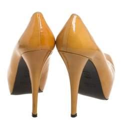 Stuart Weitzman Yellow Patent Leather Platform Pumps Size 37.5
