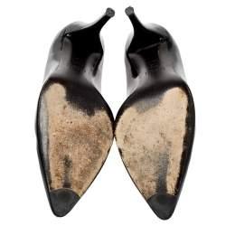 Stuart Weitzman Black Patent Leather Heist Pointed Toe Pumps Size 38.5