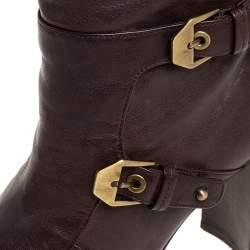 Stuart Weitzman Brown Leather Biker Knee Length Boots Size 36