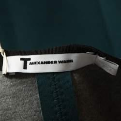 T by Alexander Wang Green Stretch Knit Neoprene Pleated Dress XS