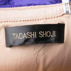 Tadashi Shoji Purple and Begie Tulle Embroidered Faux Feather Strapless Dress M